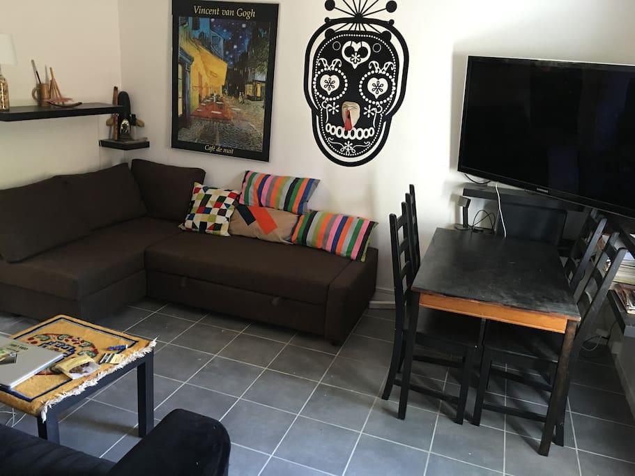 Salon - TV - Canapé-lit