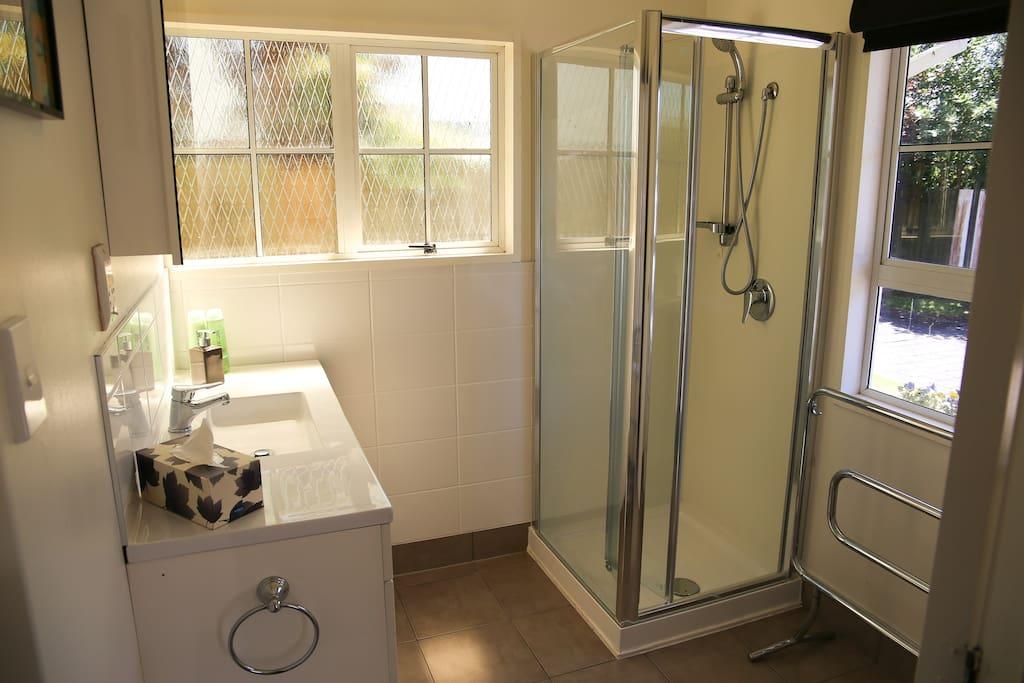 Downstairs bathroom, clean and spacious.