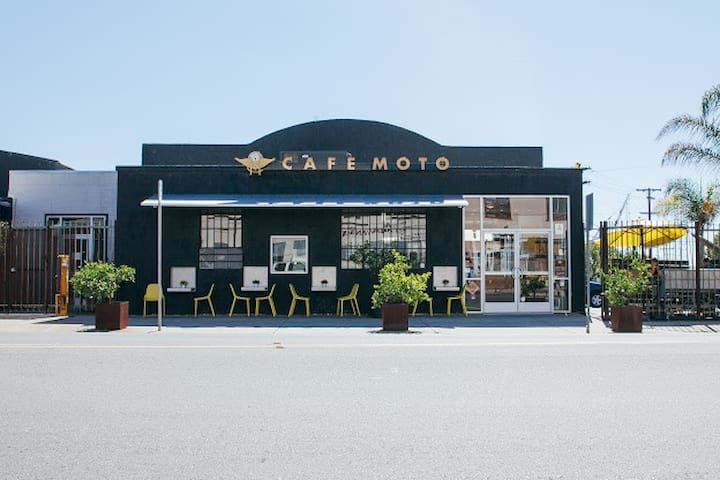 Cafe Moto is conveniently located across the street.