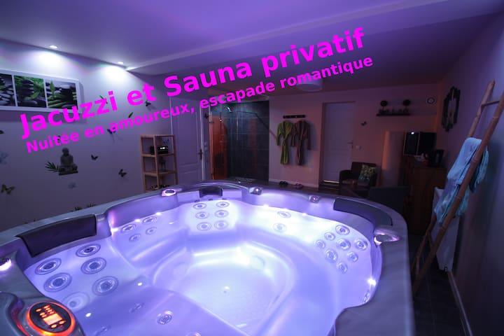 Nuitée en amoureux, Jacuzzi & Sauna privatif