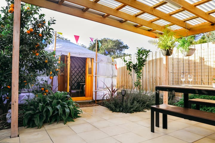 Yurt Hideway is nestled in a lush, peaceful and private courtyard.