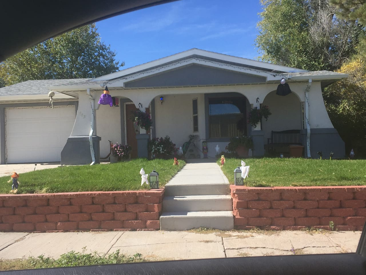 House front with Halloween  decor.