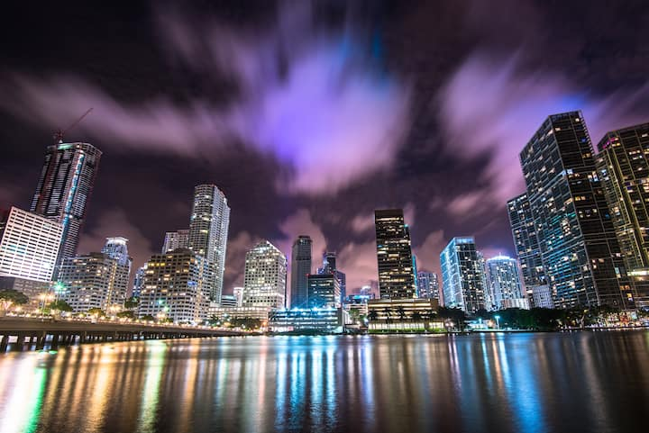 City lights on the MIAMI River at Night!