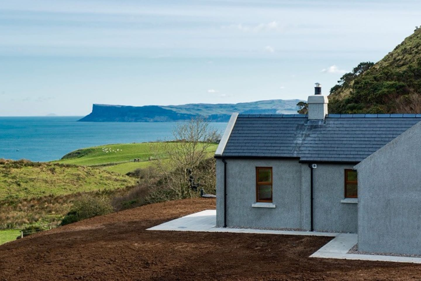 Spectacular sea views of Rathlin Island, Scotland and Fairhead