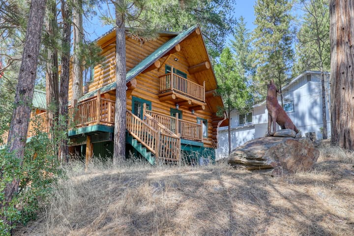 Charming log cabin w/ resort amenities, steam shower, & multiple decks - dogs OK
