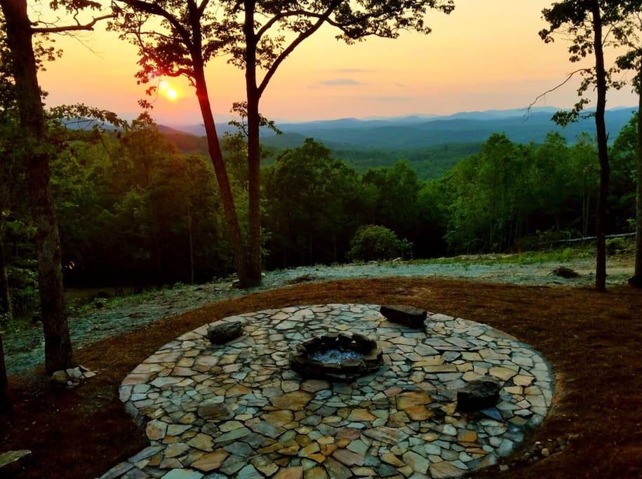 Enjoy the Sunset Around the Oversized Firepit