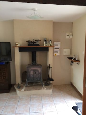 Wood burning stove in living area