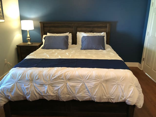 Master bedroom has a king size bed with a comfy bamboo mattress