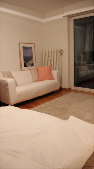 Private bedroom with double bed plus couch