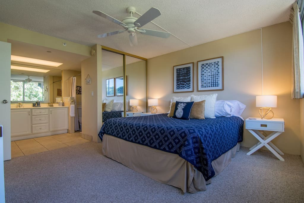 Newly decorated master bedroom with a King size bed and all new bedding!