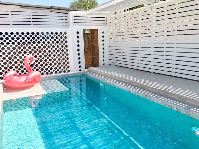 Our rustic swimmingpool with seasalt water  is open 24 hrs for your ultimate enjoymemt at White Wood house and White Hut