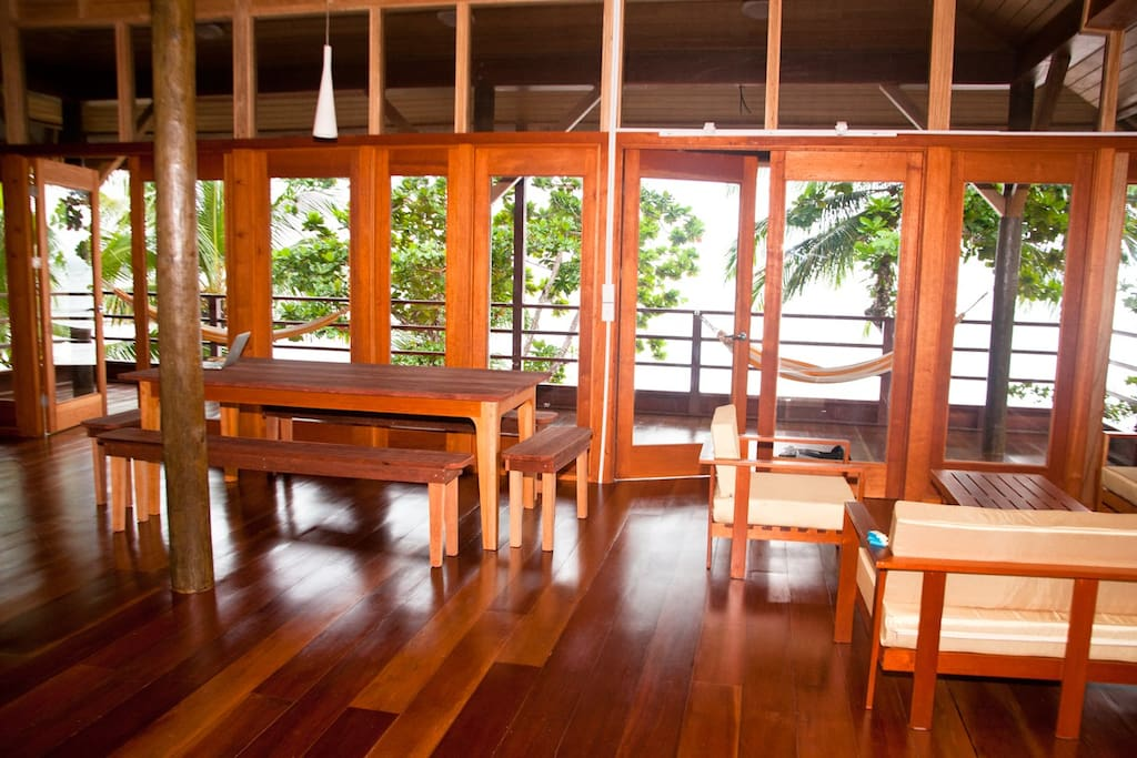 dinning area, view from inside toward the terrace