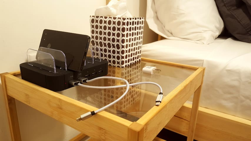 Every room is equipped with a USB port charging station.