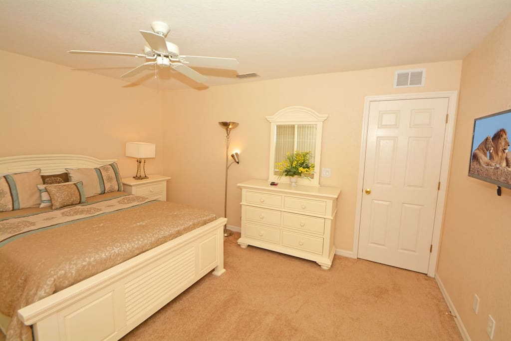 Master bedroom with wall mounted flatscreen TV and king size bed