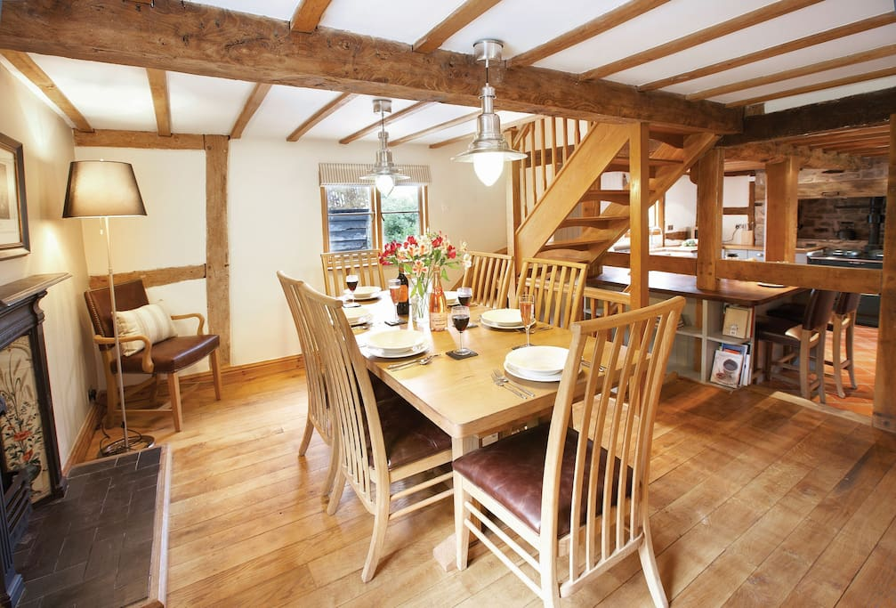 Ground floor:  Open plan, fully fitted kitchen with dining area