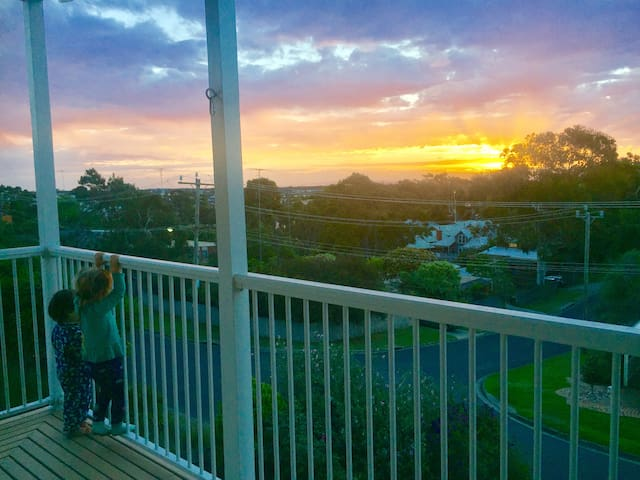 Watch the sunset from the balcony or comfort of the lounge. Metal balcony solid and kids safe.