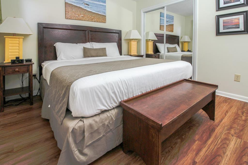 King size bed and bench