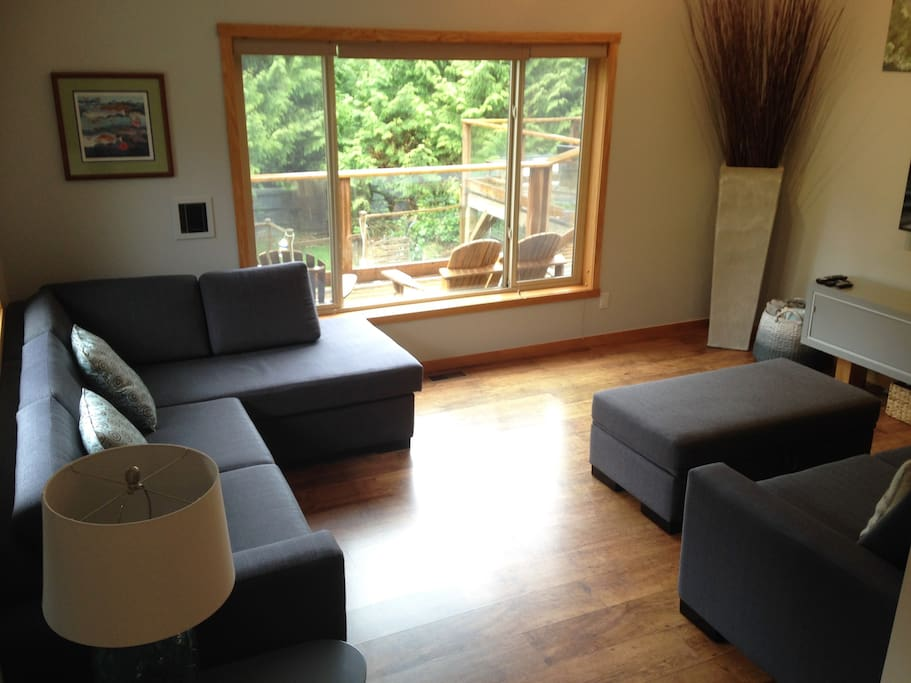 Bright and spacious living room with a smart tv - new couch, chaise and sofa bed