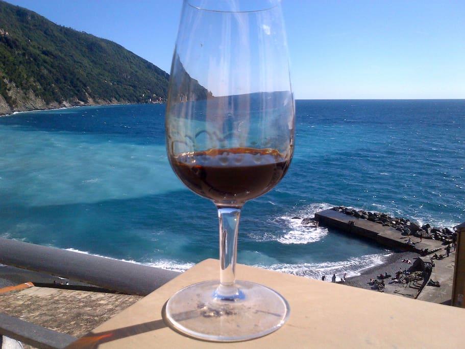 Dal terrazzo: Punta Chiappa e un ottimo bicchiere di vino