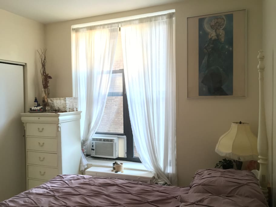 Big, double window provides lots of natural sunlight. A/C in window. Pull down black out blinds offer very restorative sleep.