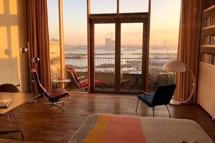 Artist Studio with View at the Port of Amsterdam