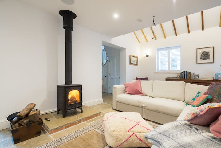 Log burner laid and ready for your arrival . Along with an extra basket of logs on us