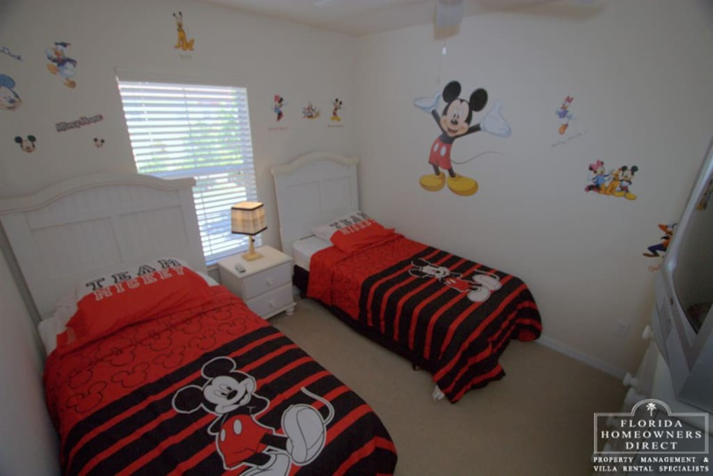 Which child does not want to sleep in this twin bedroom in Mickeys Villa located in Encantada Resort just 3 miles away from Disney Resort Entrance.