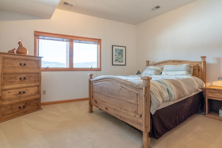 Lower level Queen Bedroom, with a view!