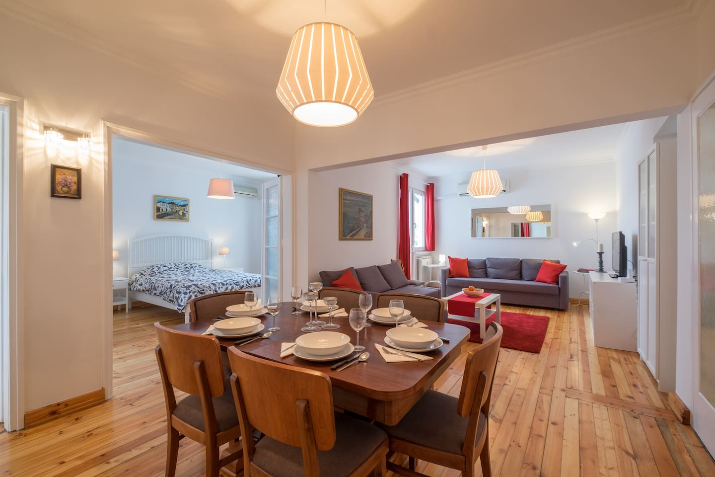 Central part of the apartment contains a large dining room & living room, opening to a terrace on an inner yard w/ mountain view. Dining room table belonged to a 1940s Bulgarian prime minister. Master bedroom 1 (shown left) has doors which close. AC.