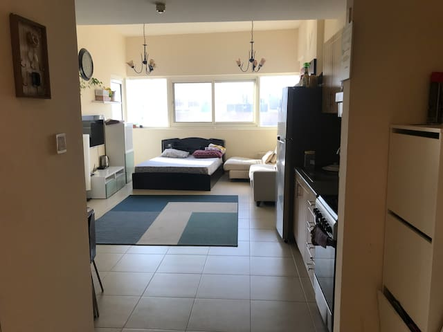 Hall with queen size bed in One bedroom apartment!