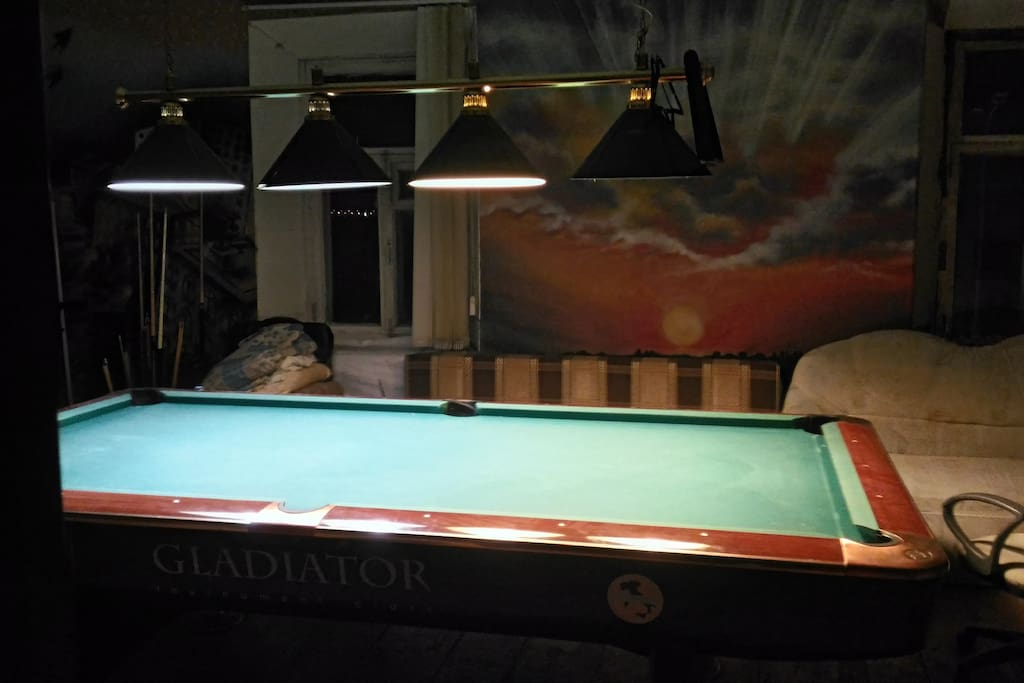 The Billiard dream room. There are billiard table and 2 double beds.