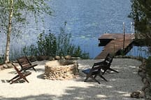 The Campfire area, the lake and the jetty