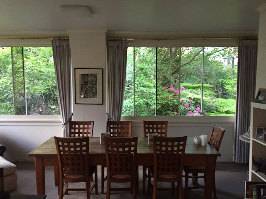 Dining area with leafy outlook