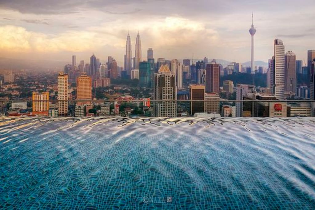 Beautiful KL day view on the Rooftop of Regalia by the Infinity Pool
