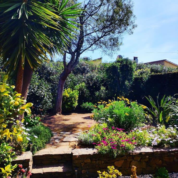 Jardin privatif très ensoleillé. Des transats sont à votre disposition