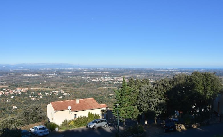 Villa Josephine with view over Montains, Roussillon plain and the mediterrnian sea.