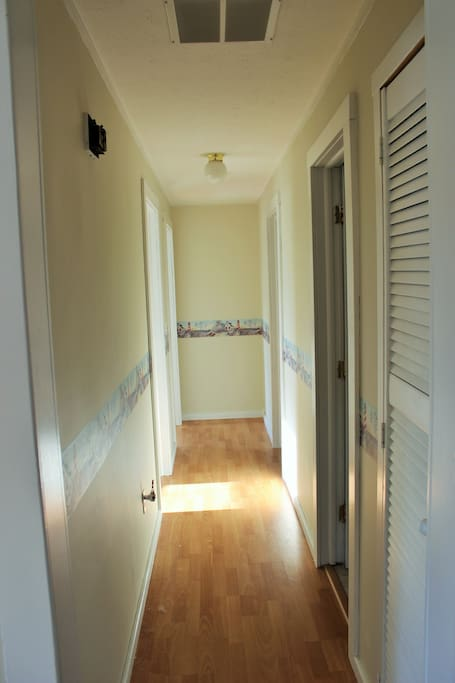 Hallway from Kitchen to Bedrooms and Bathroom.