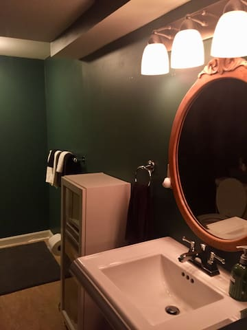 The on suite bathroom is perfect for getting ready for your day of adventure.