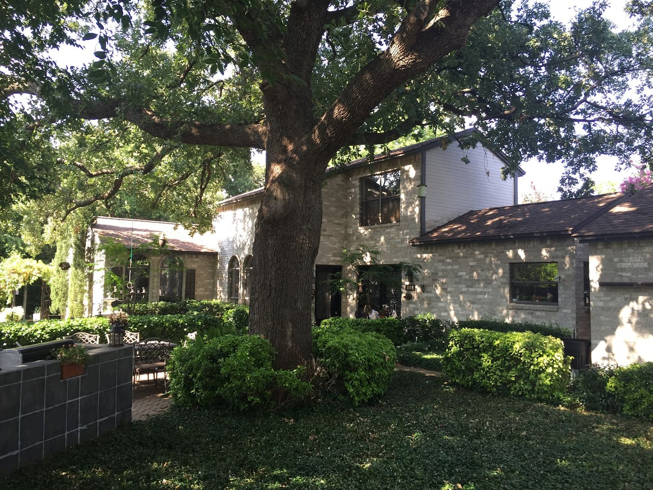 The Charleston style home was constructed with respect for the roots of this enormous oak tree.