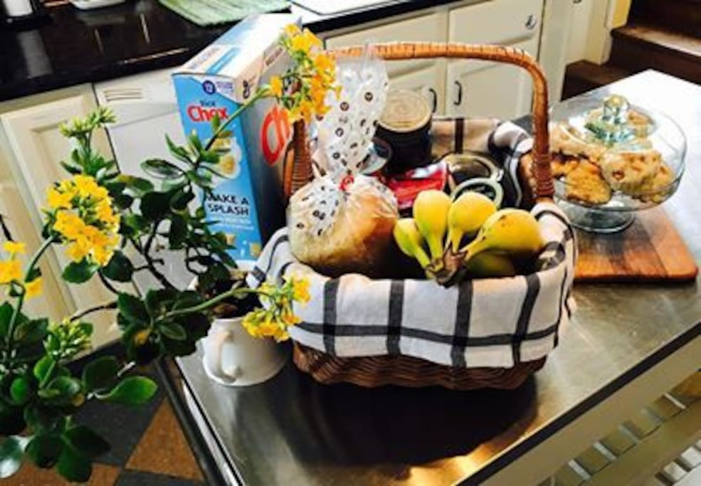 Welcome basket upon arrival to help you get you going in the morning.