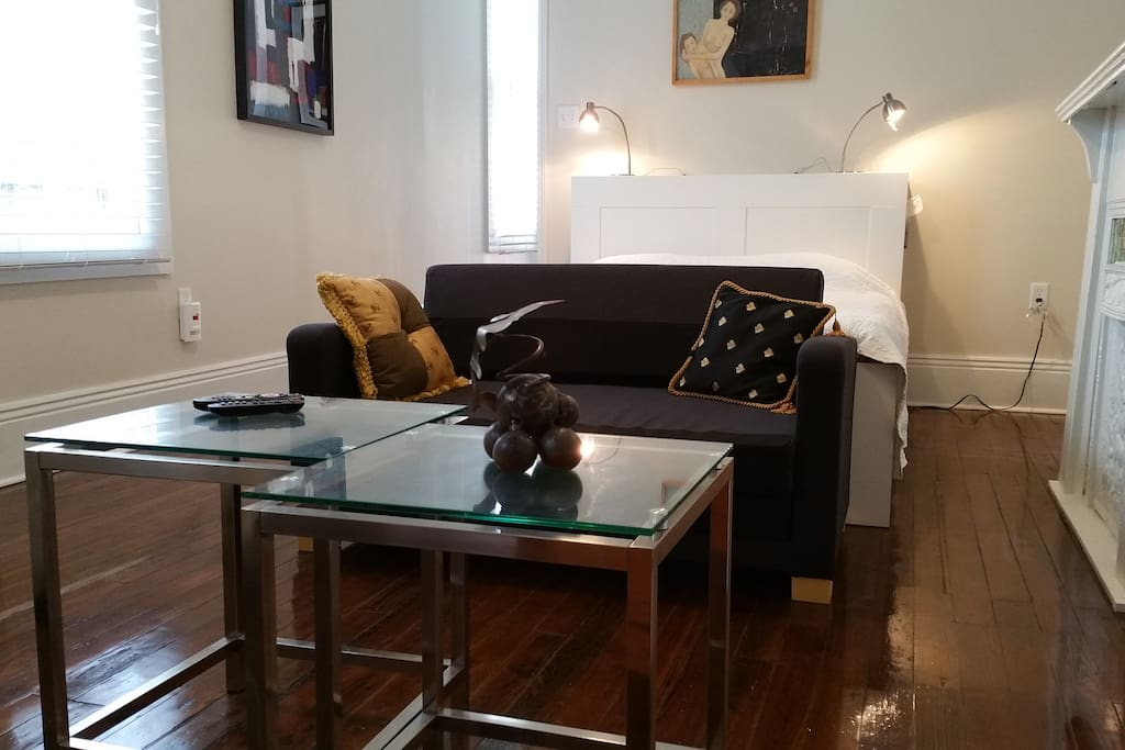 Bedroom, super comfortable bed, plenty of closet and storage, sitting and large TV with access to media