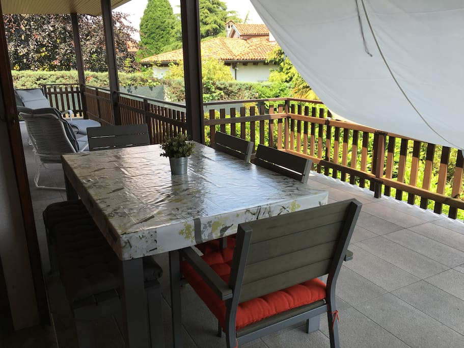 Terrace  Outdoor table for eating out shaded from the sun