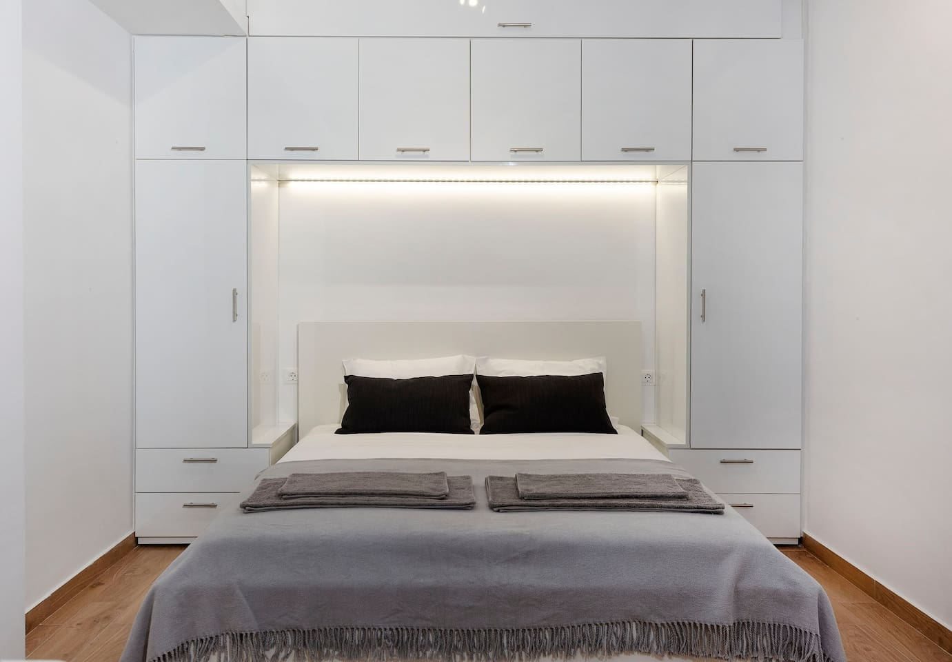 Double bed and closets