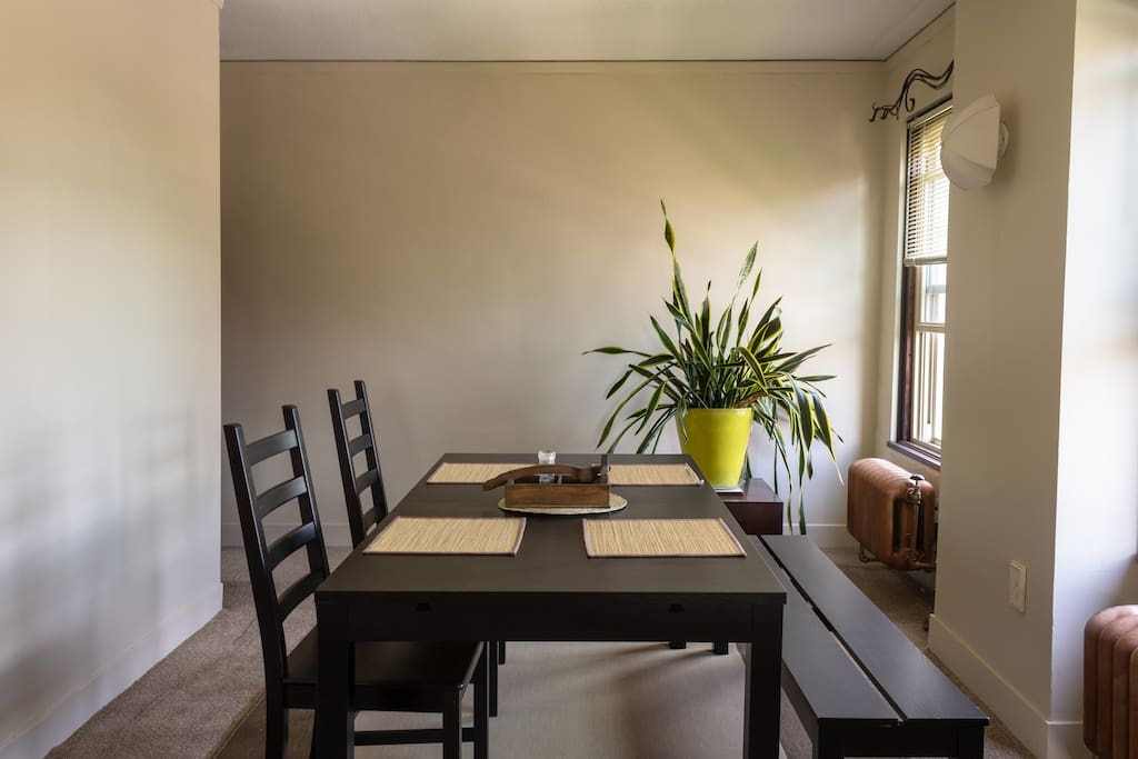 The common dining room, great for eating, conversing, and doing work.