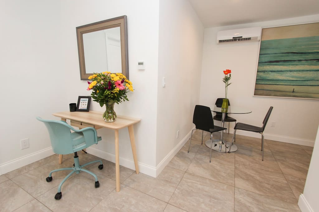 Work desk and dining area for all the comforts of home!!