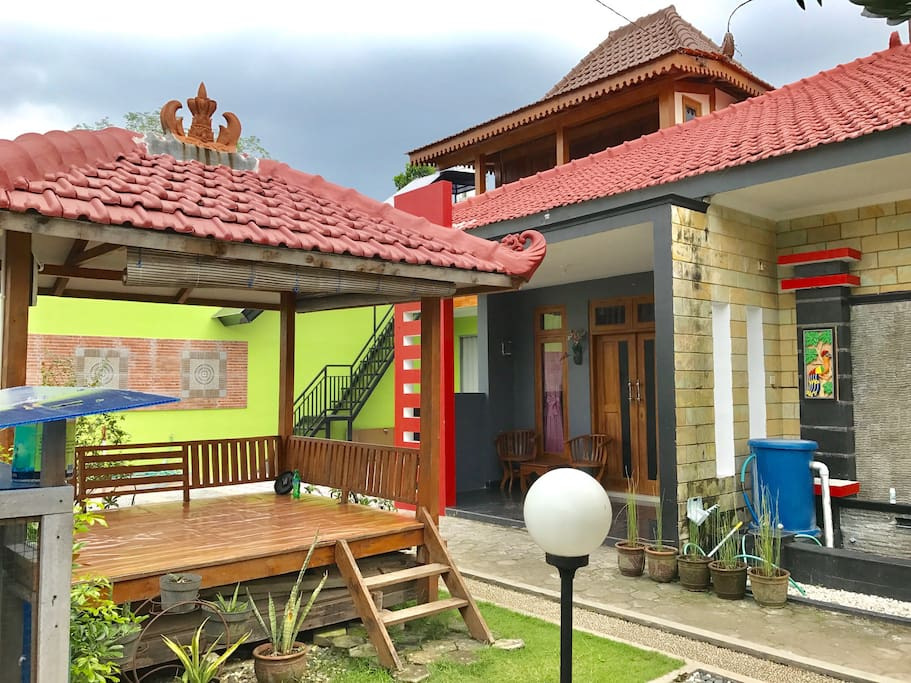 Gazebo situated in front of joglo homestay