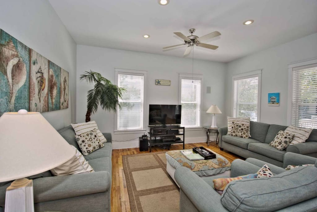 Spacious Living Area with Large Flat Screen TV and Plenty of Comfortable Seating at Limoncello Family Beach Home Seagrove Beach, Florida