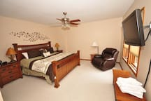 Master Bedroom on the main level with a king size bed
