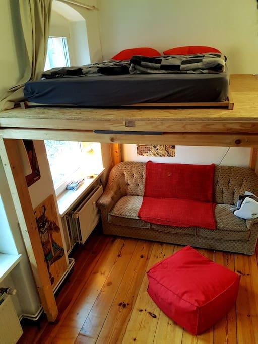 loft bed in livingroom