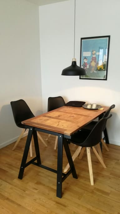 Modern wooden table for a romantic dinner